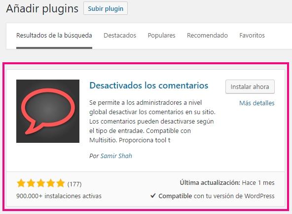 Plugin de WordPress para desactivar comentarios