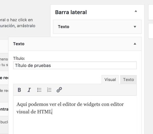 Editor HTML en los Widgets