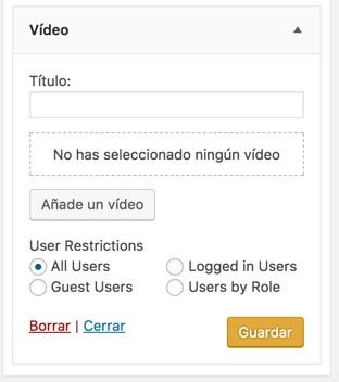 Bloque para mostrar vídeos en WordPress como widget